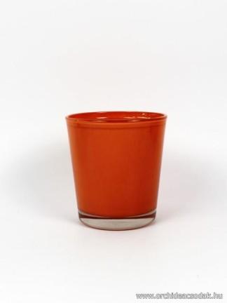 Üveg orchidea  kaspó narancssárga színű 13,5 cm