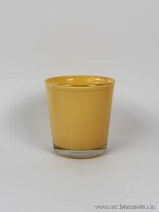 Üveg orchidea kaspó sárga színű 13,5 cm