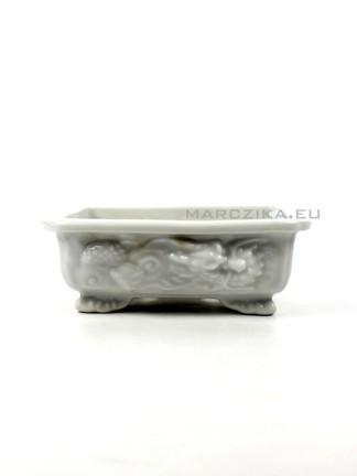 Fehér mázas sárkányos shohin bonsai tál