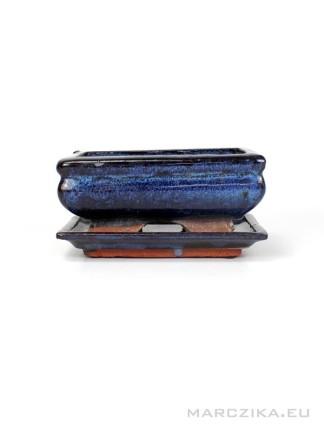 Használt kék mázas bonsai tál hozzá való alátéttel - 14 x 10 cm