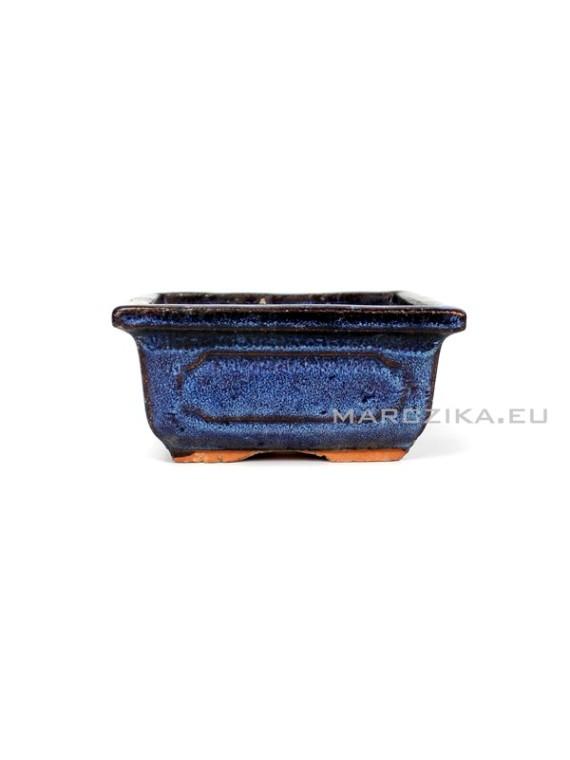 Használt kék mázas bonsai tál - 11 x 8,5 cm