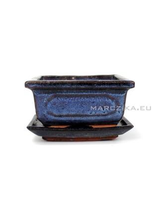 Használt kék mázas bonsai tál alátéttel - 11 x 8,5 cm