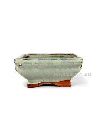 Használt beige mázas bonsai tál - 11,5 x 8,5 cm