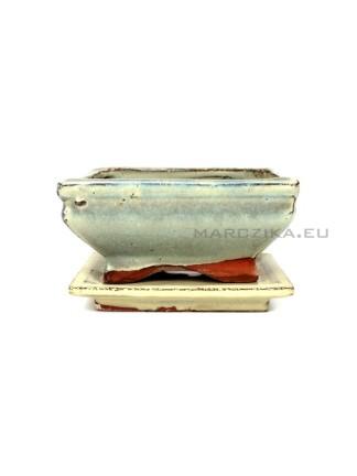 Használt beige mázas bonsai tál alátéttel - 11,5 x 8,5 cm