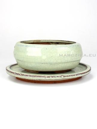 Használt beige mázas bonsai tál alátéttel - 12 x 9 cm