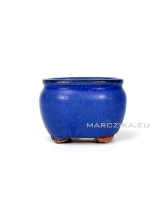 Használt kék mázas mini bonsai tál - 8,5 x 7 x 6 cm