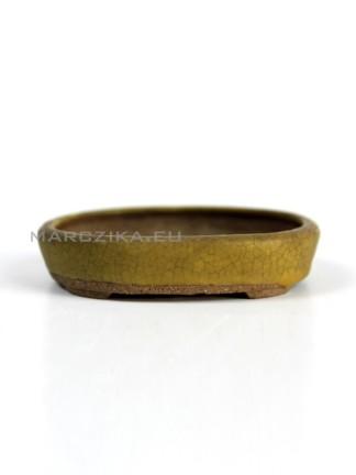 Sárga ovális japán shohin bonsai tál - 9 x 7,2 x 2 cm